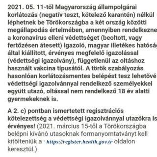 Törökország friss információ!  A Konzuli Szolgálat oldalán megjelent tájékoztatás alapján Törökország korlátozásmentes belépést tesz lehetővé a védettségi igazolvánnyal rendelkező személyekkel együtt utazó, oltással nem rendelkező 18 év alatti gyermekeknek is!  🇹🇷🇹🇷🇹🇷  https://konzuliszolgalat.kormany.hu/europa-utazasi-tanacsok?torokorszag  #törökország #védettségi #családiutazás